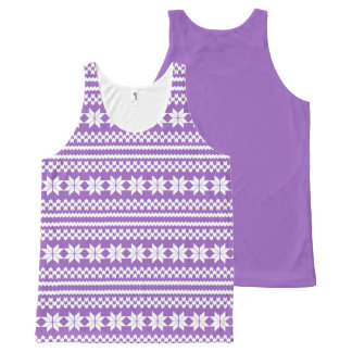 White and Purple Nordic Christmas Sweater Pattern All-Over Print Tank Top