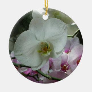 White and Purple Orchids Ceramic Ornament