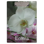 White and Purple Orchids Clipboard