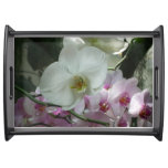 White and Purple Orchids Serving Tray