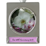 White and Purple Orchids Silver Plated Banner Ornament