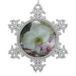 White and Purple Orchids Snowflake Pewter Christmas Ornament