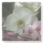 White and Purple Orchids Stone Coaster
