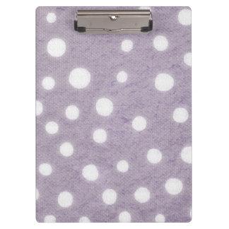 White and Purple Polka Dots Clipboard