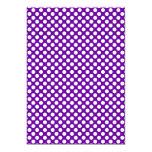 "White and Purple Polka Dots 5"" X 7"" Invitation Card"