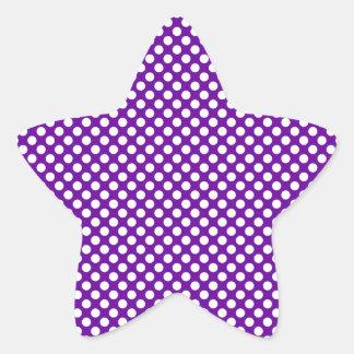 White and Purple Polka Dots Star Sticker