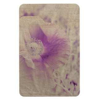 White and Purple Poppy Floral Magnet