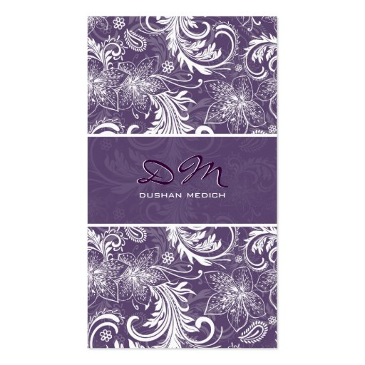 White And Purple Retro Floral Pattern Template Business Card