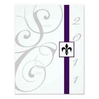 White and Purple Scroll Ribbon Graduation Custom Invites