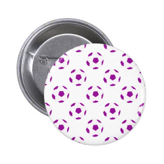White and Purple Soccer Ball Pattern Pinback Button