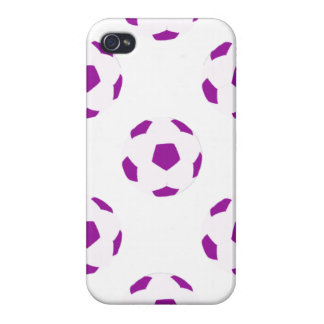 White and Purple Soccer Ball Pattern Covers For iPhone 4
