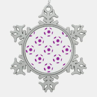 White and Purple Soccer Ball Pattern Snowflake Pewter Christmas Ornament