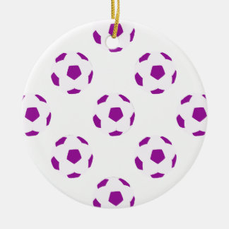 White and Purple Soccer Ball Pattern Double-Sided Ceramic Round Christmas Ornament