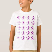 White and Purple Soccer Ball Pattern T-Shirt
