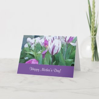 White and purple tulip flowers happy mother's day card