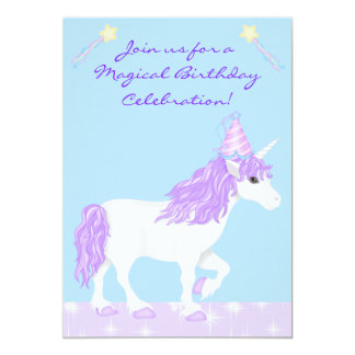 White and Purple Unicorn Girls Birthday Invitation