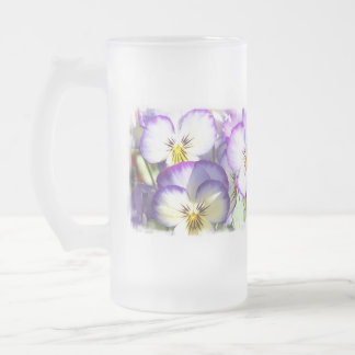 White and Purple Violas Frosted Beer Mug