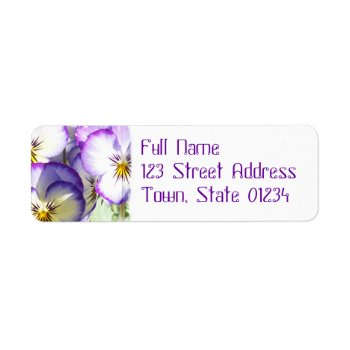 White And Purple Violas Mailing Label by PerennialGardens at Zazzle