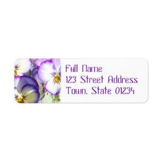 White and Purple Violas Mailing Label Return Address Label