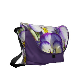 White and Purple Violas Messenger Bag