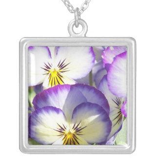 White and Purple Violas Necklace