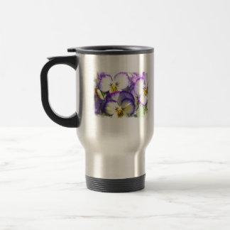 White and Purple Violas Stainless Travel Mug