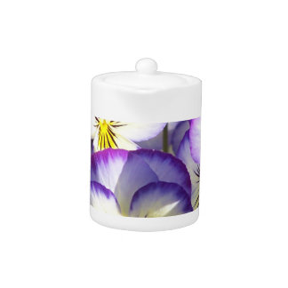 White and Purple Violas Teapot
