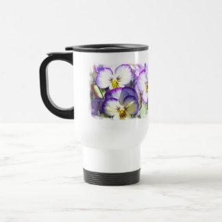 White and Purple Violas Travel Mug