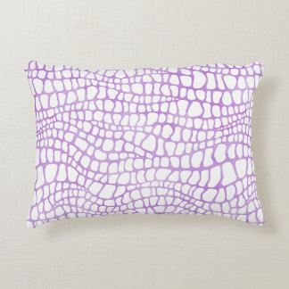 White and Purple Watercolor Crocodile Skin Pattern Accent Pillow