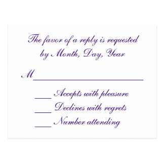 White and purple wedding RSVP Postcard