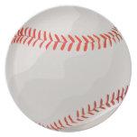 White and Red Baseball Melamine Plate