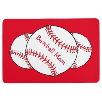 White and Red Baseball Mom Sports Floor Mat