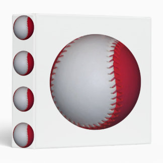 White and Red Baseball / Softball 3 Ring Binder