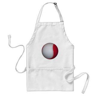 White and Red Baseball / Softball Adult Apron