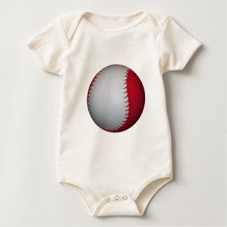 White and Red Baseball / Softball Baby Bodysuit