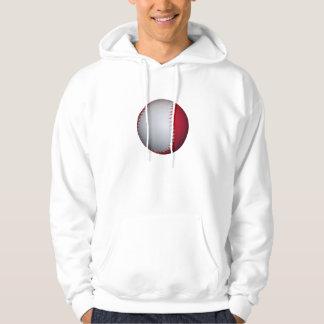 White and Red Baseball / Softball Hoodie