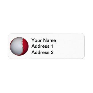 White and Red Baseball / Softball Label