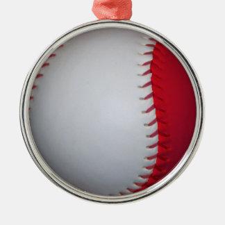 White and Red Baseball / Softball Metal Ornament