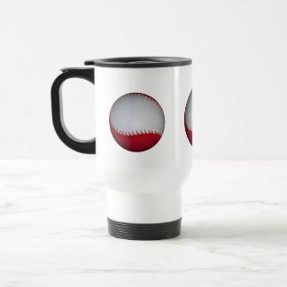 White and Red Baseball / Softball 15 Oz Stainless Steel Travel Mug