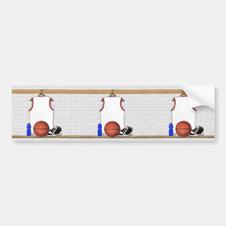 White and Red Basketball Jersey Car Bumper Sticker