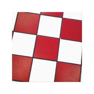 white and red checkered floor canvas print