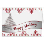 White and Red Christmas Ribbon card