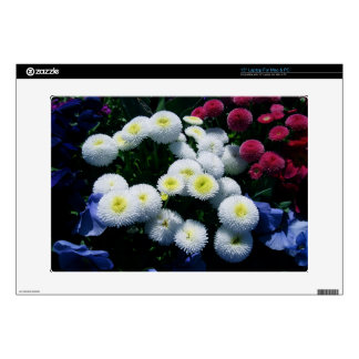 White and Red Chrysanthemums Laptop Skins