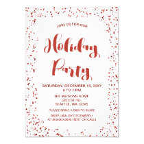 White and Red confetti Modern holiday Party Card