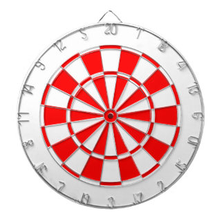 white and red dartboard with darts