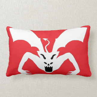 White And Red Devil Lumbar Pillow