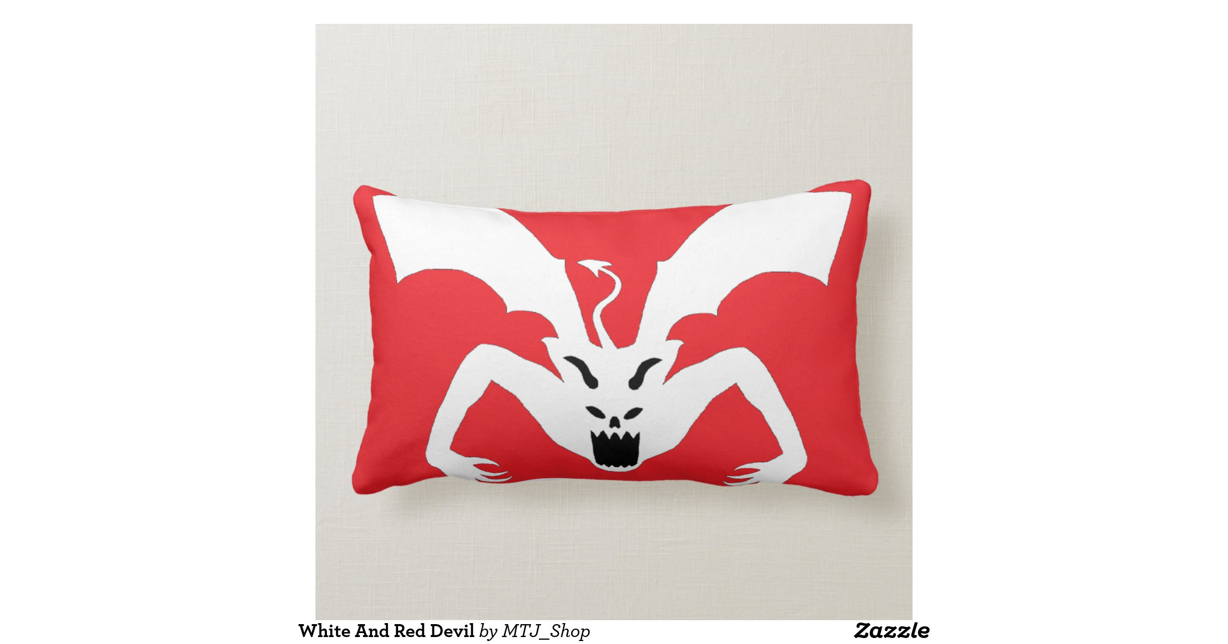 Throw Pillows Red And White : White And Red Devil Throw Pillow Zazzle