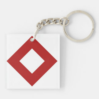 White and Red Diamond Pattern Acrylic Key Chains