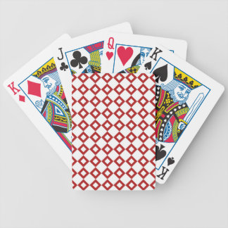 White and Red Diamond Pattern Bicycle Playing Cards