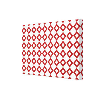 White and Red Diamond Pattern Canvas Print